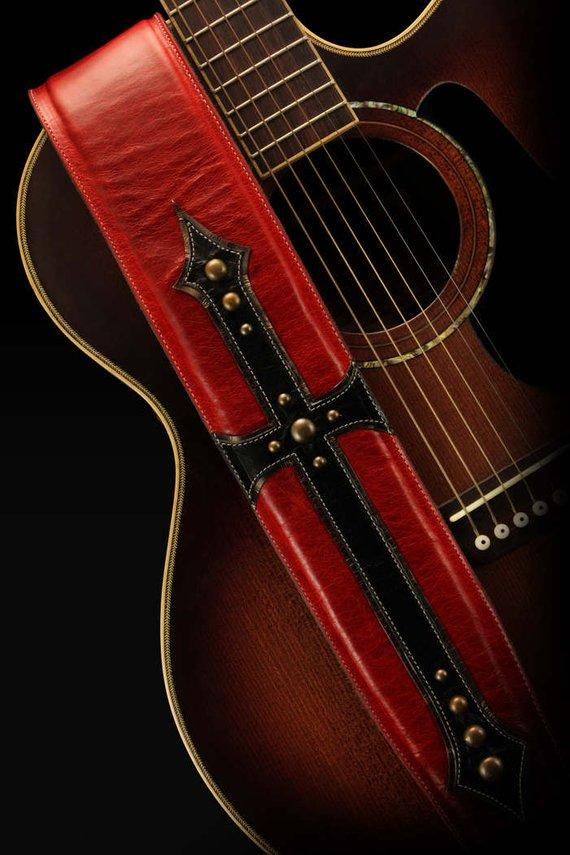 Leather Guitar Strap, Red and Black Guitar Strap: Cardinals Cross Guitar Strap
