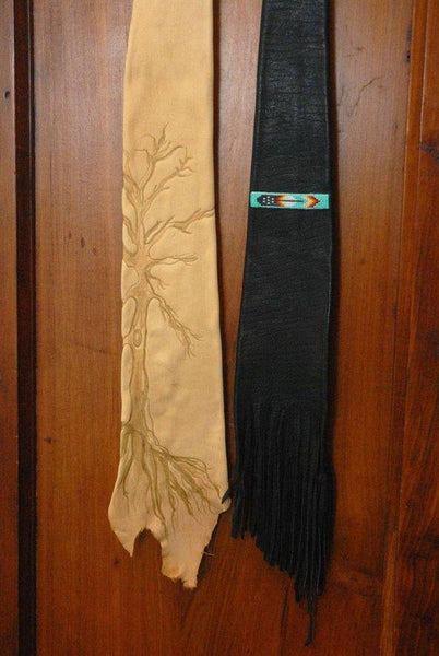 Leather Necktie, Native American Inspired Necktie,Beaded Necktie,Unique Necktie, Fringed Necktie