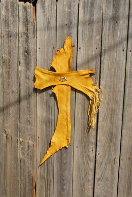 Leather Wall Cross, Western Wall Cross, Christian Cross, Religious gift, rustic wall cross, Yellow leather cross