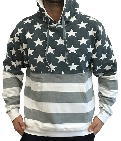 Licensed-Mart Originals Unisex Proud American Flag Pullover Hoodie Sweatshirt