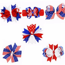 Lovely 6styles Kids Cute Polyester National Day Floral Hair Accessories American Flag Clip Bow Hairpin