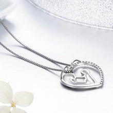 Luxury 925 Sterling Silver Deep Love of Parents Heart CZ Pendant Necklaces for Women Authentic Jewelry