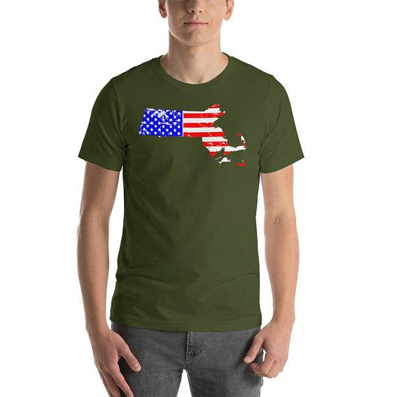 Massachusettes Flag Shirt-ndependence Day Shirt-4th of July Shirt-USA-Holiday Shirt-Freedom-Flag Shirt-American Flag Shirt-American Pride Sh