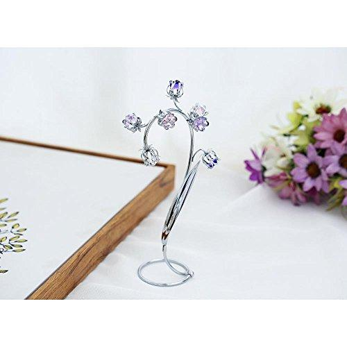 Matashi Best Ever Parent's Day Gift - Crystal Flower Tabletop Ornament Floral Arrangement | Elegant Home or Office Décor | Intricate Stem and Petal Details | (Silver, Pink & Purple Crystals)
