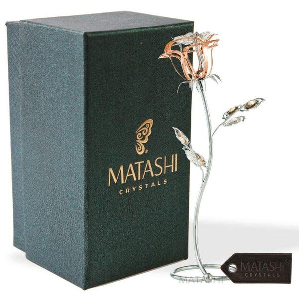 "Matashi Parent's Day Gift - Chrome Plated Silver Rose Crystal Studded ""Loving Flower Ornament"", Within Luxury Gift Box, by Great Gift Idea"