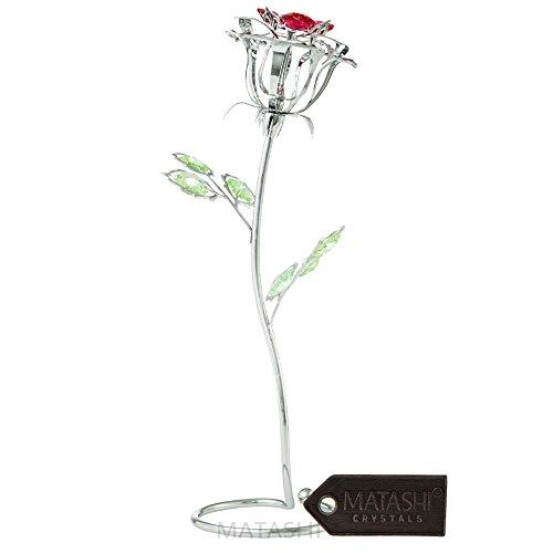 Matashi Parent's Day Gift -Rose Flower Tabletop Ornament w/Clear Crystals, Long-Stem, Metal Decorative Home Décor | Elegant Craftsmanship (Single Rose Large, Silver with Red Crystals)