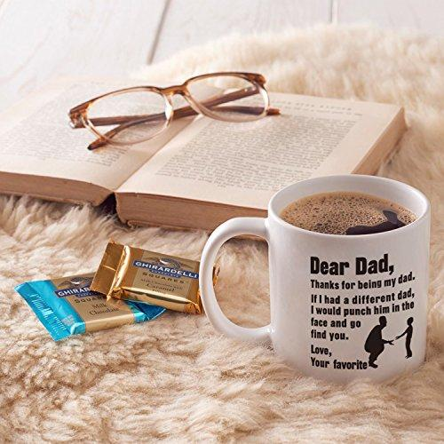 MAUAG Funny Christmas Gifts for Dad Coffee Mug - Dear Dad, Thanks for being my dad. If I had. Love, Your favorite - Best Gag Gifts for Dad, Father, Grandpa Porcelain Cup, White 14 Oz