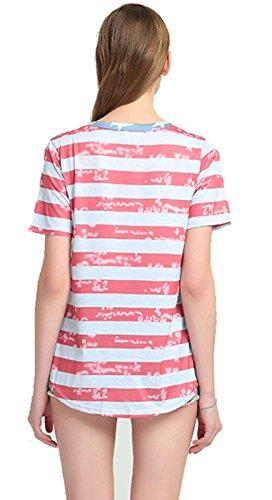 MCieloLuna Women's Casual T-Shirt - USA Flag Printed Summer Top
