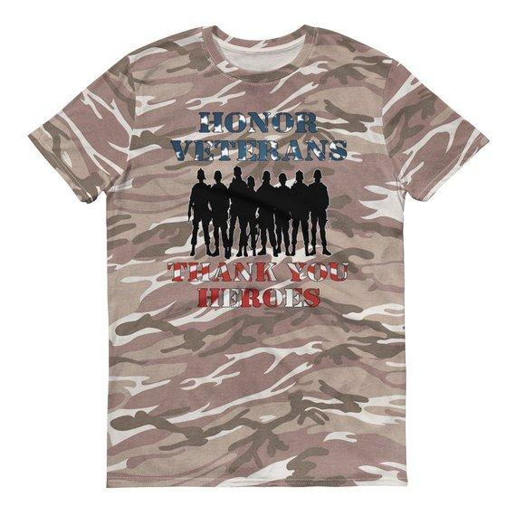 Memorial Day Veterans Short-sleeved camouflage t-shirt | Honor Veterans Soldiers Thank You Heroes Short-sleeved camouflage t-shirt