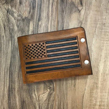Men's Leather Wallet, American Flag Wallet, Thin Wallet, Military Gift, Bifold Leather Wallet, Durable Wallet, Men's Wallet, Minimal Wallet