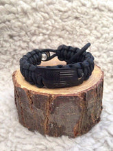 Men's Paracord bracelet, Leather stamped American flag, 550 fish fire paracord, fishing hook line and sinker built in, Leather Bracelt