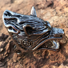 Men's Ring Viking Norse Wolf Head Gothic Biker Punk Vintagel Be