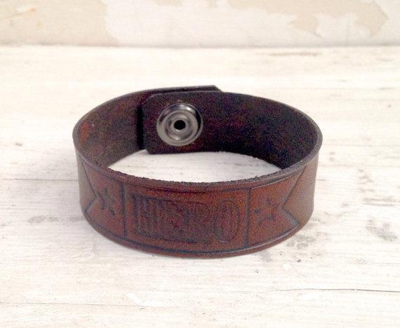 Mens Leather bracelet, Military bracelet, Hero stamped on front, military gift, leather wristband, groomsman gift, handmade leather, USA
