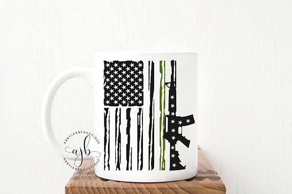 Military Mug - Fathers Day Mug - Military Flag Mug - Military Green Flag Mug - American Flag Mug - Rifle Mug - Flag Mug - Solider Mug - Dad