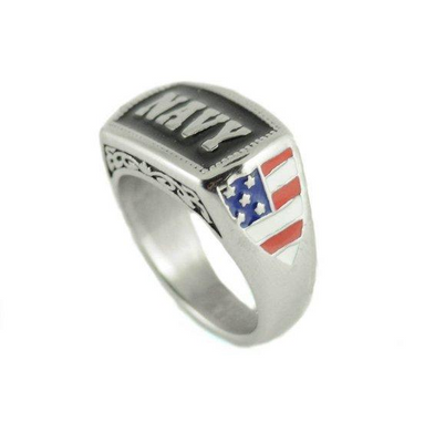 Military Ring Navy Stainless Steel Patriot American Flag Free Fast Shipping In USA
