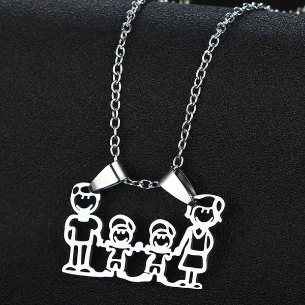 Mothers Fathers Day Gifts Parent Son Daughter Hand In Hand Charm Pendant Chain Necklace Mom Dad Boys Girls Family Birthday Gifts