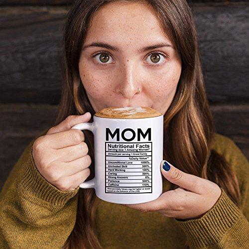 MyCozyCups Mothers Day Gifts - Mom Nutritional Facts Coffee Mug - Funny New Gag Novelty Gift From Daughter, Son, Husband For Birthday, Christmas, Anniversary, Valentine's Day - Awesome Mommy Cup