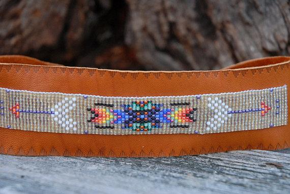 Native American Beaded Necklace, Small Beaded Choker, Tribal necklace, Fringed choker, Native American Beadwork, rust leather beaded choker