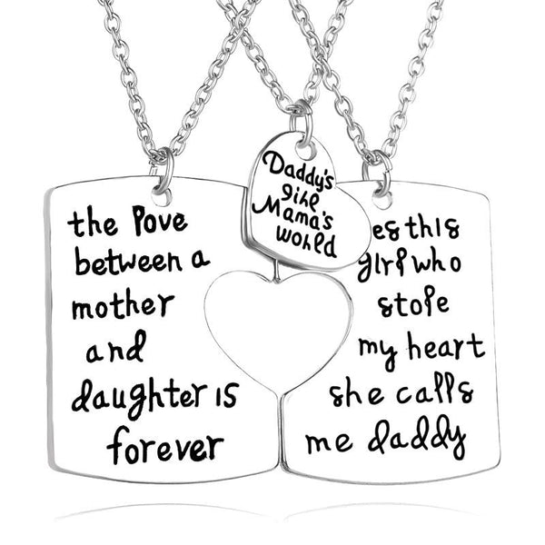 New fashion drip family member daddy mother daughter love necklace pendant necklace mother's day parent plot gift