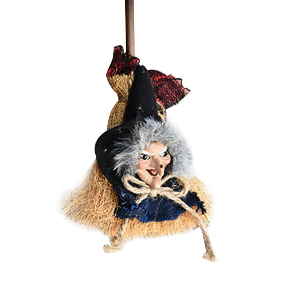 New Hanging Broomstick Witch Door Pendant Garden Living Room Ornament Halloween Party Decoration HQ