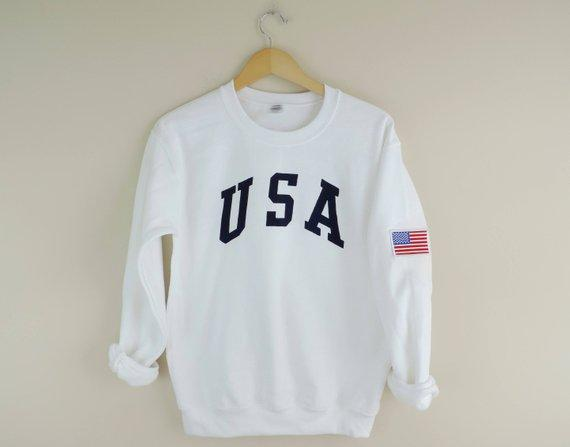 New Retro USA Navy Ink Crewneck Sweatshirt with American Flag Patch // Size S-3XL