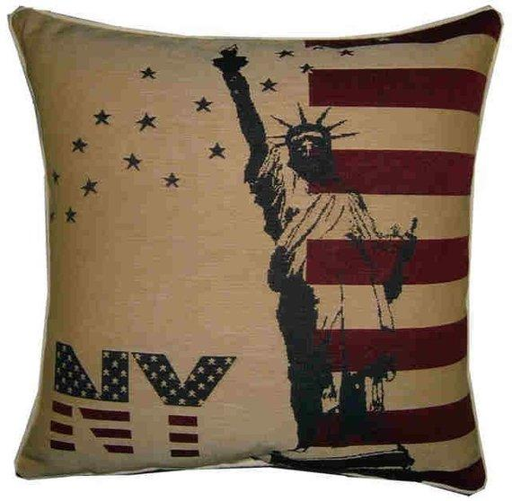 New York Statue of Liberty American Flag Woven Tapestry Cushion Cover Sham