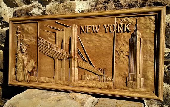 New York Wood Carving Wall Hanging Home Decor Woodwork Art Housewarming Gift Landscape Rustic Room Wall Decor American Picture Liberty