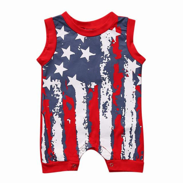 Newborn Baby Girl Romper Clothes Infant Bebes American Flag Rompers with Stars Stripes Sleeveless Kids Jumpsuit Outfit Sunsuit