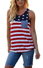 Newchoice Women's Stars and Stripes Sleeveless Racerback American Flag Tank Top Tunic with Pocket