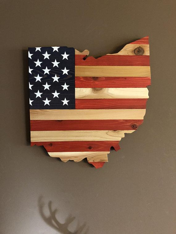 Ohio State Map American Flag