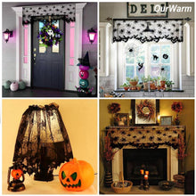 Ourwarm 1 Piece Halloween Decoration Black Lace Spiderweb Shades Fireplace Mantle Scarf Cover Curtains Festive Party Supplies