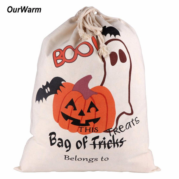 Ourwarm 1pc Cotton Canvas Halloween Bags Trick or Treat Bags with Pumpkin Spider Web Decoration Halloween Sack Decoration