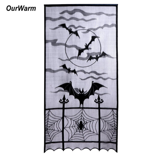 Ourwarm Halloween Decorations Props Spiderweb Lace Door Curtain Decoration for Home Horror Decor Event Party Supplies