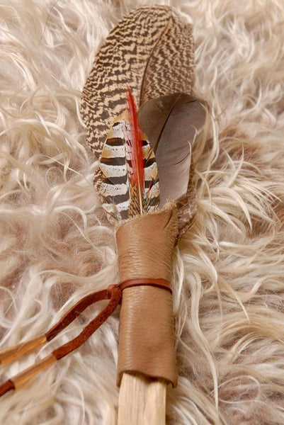 Palo Santo smudge fan, Feather Fan, smudge feather fan, Peacock feather fan, Red and Copper fan, Blessing feather, Prayer feather
