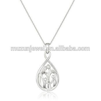 Parents and Two Children Family Infinity Sterling Silver Pendant Necklace