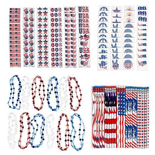 Patriotic 4th of July Themed Party Favor Assortment and Parade Party Pack Bulk Pack of 144 Prizes Including Patriotic Red White Blue Stickers, Tattoos, Star Necklaces and Pencils