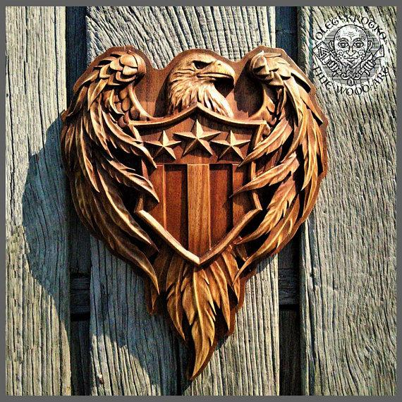Patriotic American Flag Wooden Carved Sign Coat of Arms Wood Carvig Picture Plaques Decor Art Wall Hanging Patriot Gift Home Decor Custom