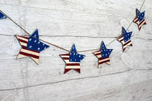 Patriotic decor, 4th of July banner, primitive american flag stars, wooden rustic decor, Memorial Day banner, Americana decor