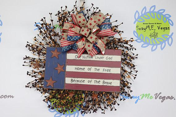 Patriotic Farmhouse Flag Wreath, Pip Berry Rustic Wreath,  Americana Flag Wreath, Independence Day Wreath, July Fourth Wreath, Military