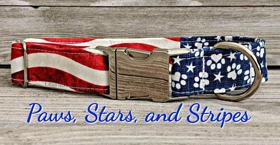 Patriotic Paws Stars and Stripes American Flag Quick Release Buckle Dog/Puppy Collar
