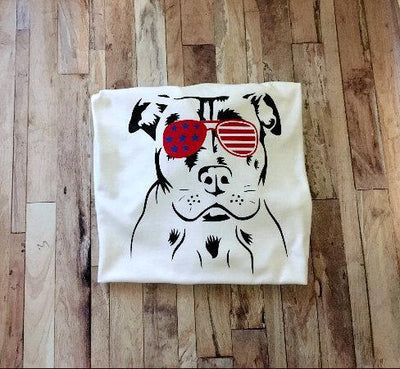 Patriotic Pitbull Shirt - Cute Memorial Day 4th of July Labor Day Pittie Shirt