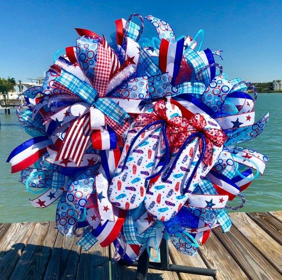 Patriotic wreath, Patriotic decor, Patriotic door hanger, Patriotic gift, Fourth of July wreath, Fourth of July decor, Flip flop wreath