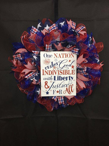 Patriotic,  Pledge of Allegiance, Fourth of July, Memorial Day, Independence Day, Wreath