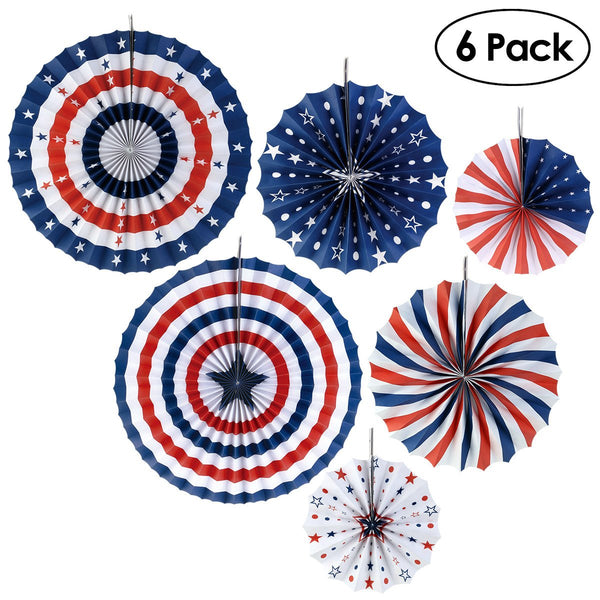 PBPBOX 6pcs Round Patriotic Hanging Paper Fans USA Red White Blue Star Strips Tissue Fan for Independence Day Party Home Decoration (40CM & 30CM & 20CM)