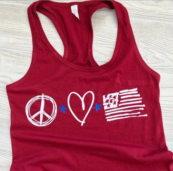 Peace, love, America Labor Day tank top