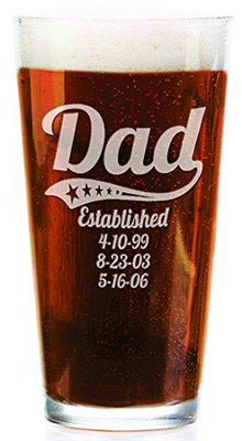 Personalized Daddy Pub Glass with Kids Birthdates 16 Oz Fathers Day Beer Mug for Grandpa, Dad, Papa, American Dad, Hero, Birthday Christmas Gift