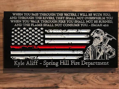 Personalized Firefighter Gift For Him Thin Red Line American Flag Christmas Custom Sign Rustic Home Decor Graduation Fathers Day Isaiah 43:2