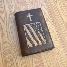 Personalized Leather Bible Cover, King James Bible Included, Handmade Leather Bible, Christian Gift, Christian Cross, American Flag, USA
