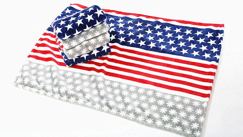Pet Dog Blanket Flannel Fabric Average Thick Super Soft Luxury Wraps Fabric Stripe And Stars American Design 35