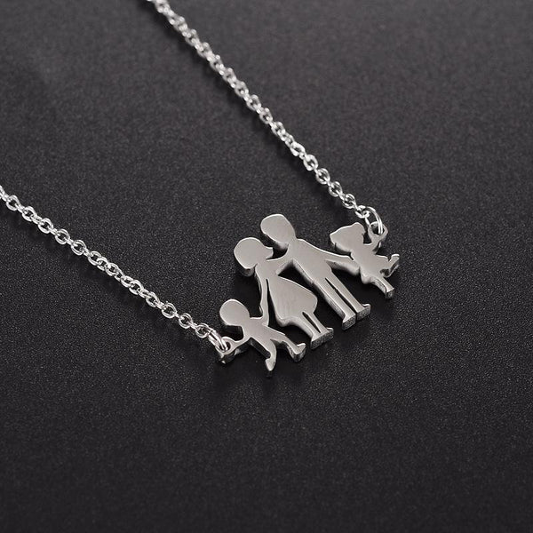 Polished Stainless Steel Loving Family Parents with 2 Children Pendant Necklace Special Day Jewelry Gifts for Mother Daughter